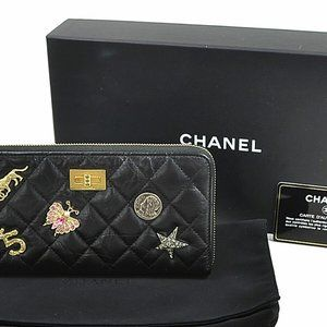 CHANEL 2.55 Lucky Charms Zip Around Long Wallet Bl